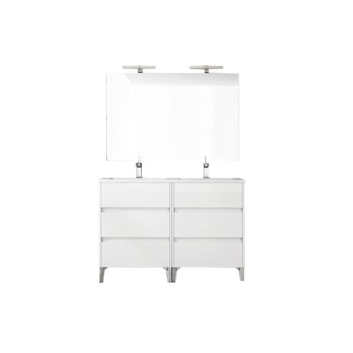 Ensemble de salle de bain TENERIFE 120cm blanc brillant