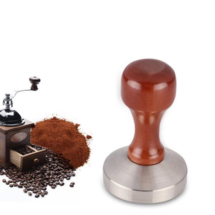 Poignée en bois Tamper à café en acier inoxydable Poudre à expresso professionnelle Marteau de pression TUBE ELECTRONIQUE