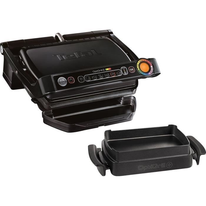TEFAL GC7148 Optigrill Grill + Snaking&Baking - 2000 W - Noir / Acier inoxydable