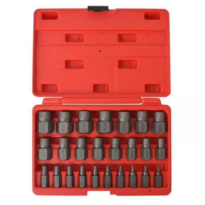 Kit d'extracteurs de vis à cannelures multiples Acier 25 pièces