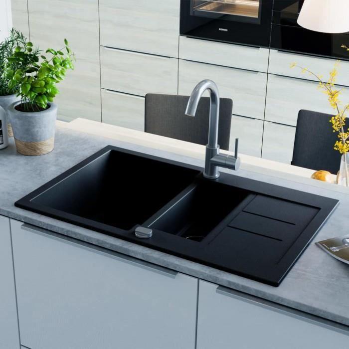 ICAVERNE gamme Eviers Plonges moderne Evier de cuisine en granit Double bac  Noir