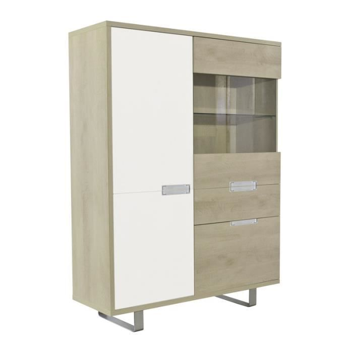 armoire vitrine de salon ch ne clair dakar l 127 x l 45 x h 168 cm achat vente vitrine. Black Bedroom Furniture Sets. Home Design Ideas