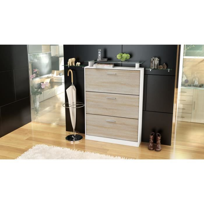 armoire chaussures 24 paires blanche et bois brut. Black Bedroom Furniture Sets. Home Design Ideas