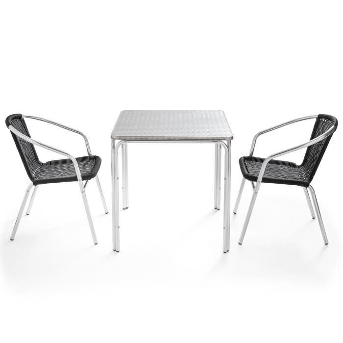 Table et chaises de jardin - Table carrée jardin terrasse 70 x 70 cm et 2  fauteuils en aluminium design