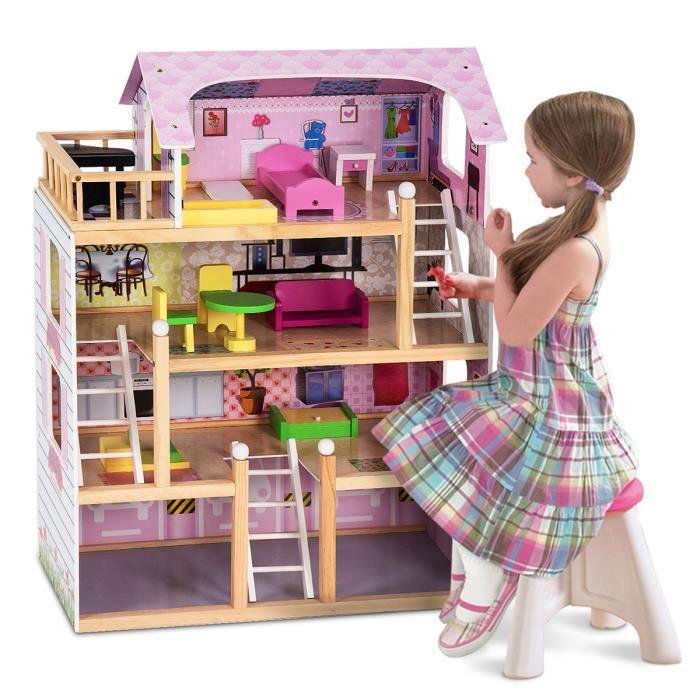 Costway Maison De Poupees En Bois Maison De Barbie Luxe 4 Etages