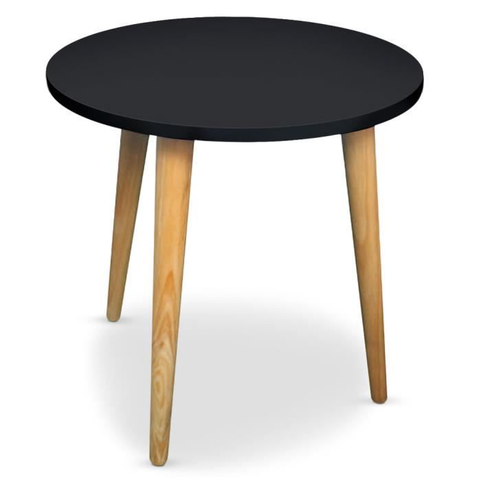 Table basse ronde style scandinave typik noir achat for 2 table basse ronde