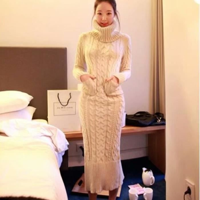 Femmes Hiver Pull Robe Nouvelle Col Roule De Mode Robe Longue Pull Conception De Poche Epaissir A Tricoter Robe Pull Blanc Achat Vente Robe Cdiscount
