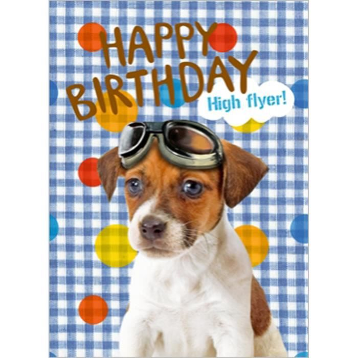 CARTE DE VOEUX CHIEN HAPPY BIRTHDAY HIGH FLYER JOY