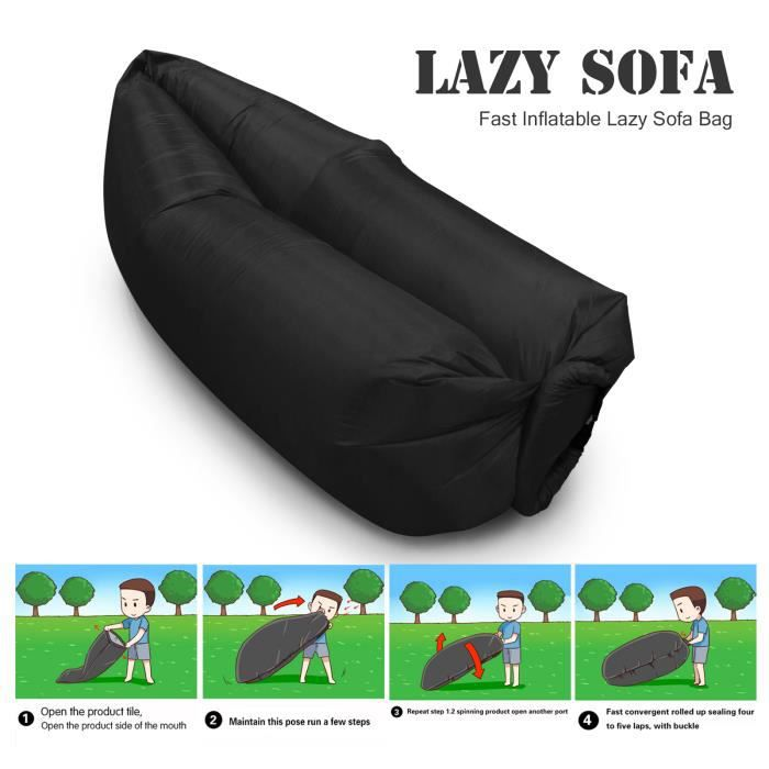 sofa sac instantan ment gonflable chaise hamac lit canap camping plage couchage combi vhs dvd. Black Bedroom Furniture Sets. Home Design Ideas