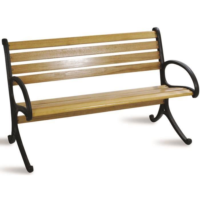 Banc de jardin en bois chêne et fonte coloris noir - Dim : H ...