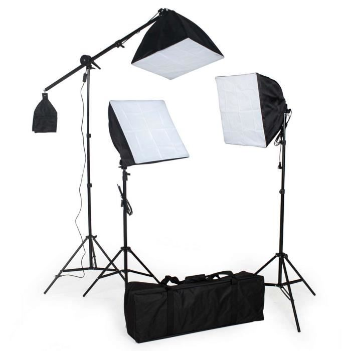 kit clairage studio 3 lampes softbox tr pieds achat. Black Bedroom Furniture Sets. Home Design Ideas