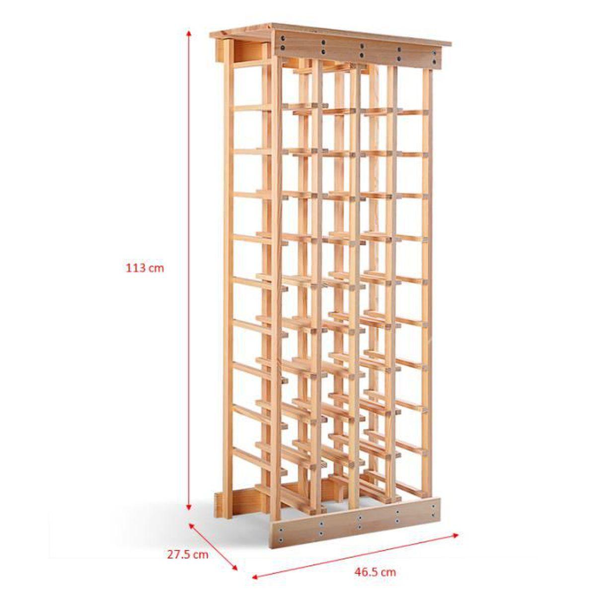 Fabriquer Casier À Bouteilles En Bois Étagère à vin casier à 44 bouteilles en bois de pin robuste modulable 46,5  x 27,5 x 113 cm