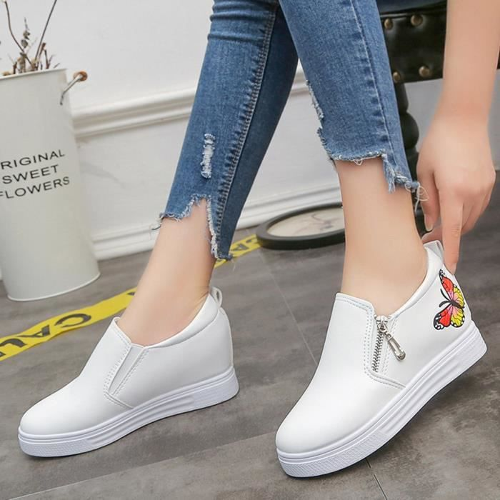 Mode Mocassins Casual Wedges Pour Dames Papillon Sneakers Chaussures down9861 Plat Femmes Zip 1vqada