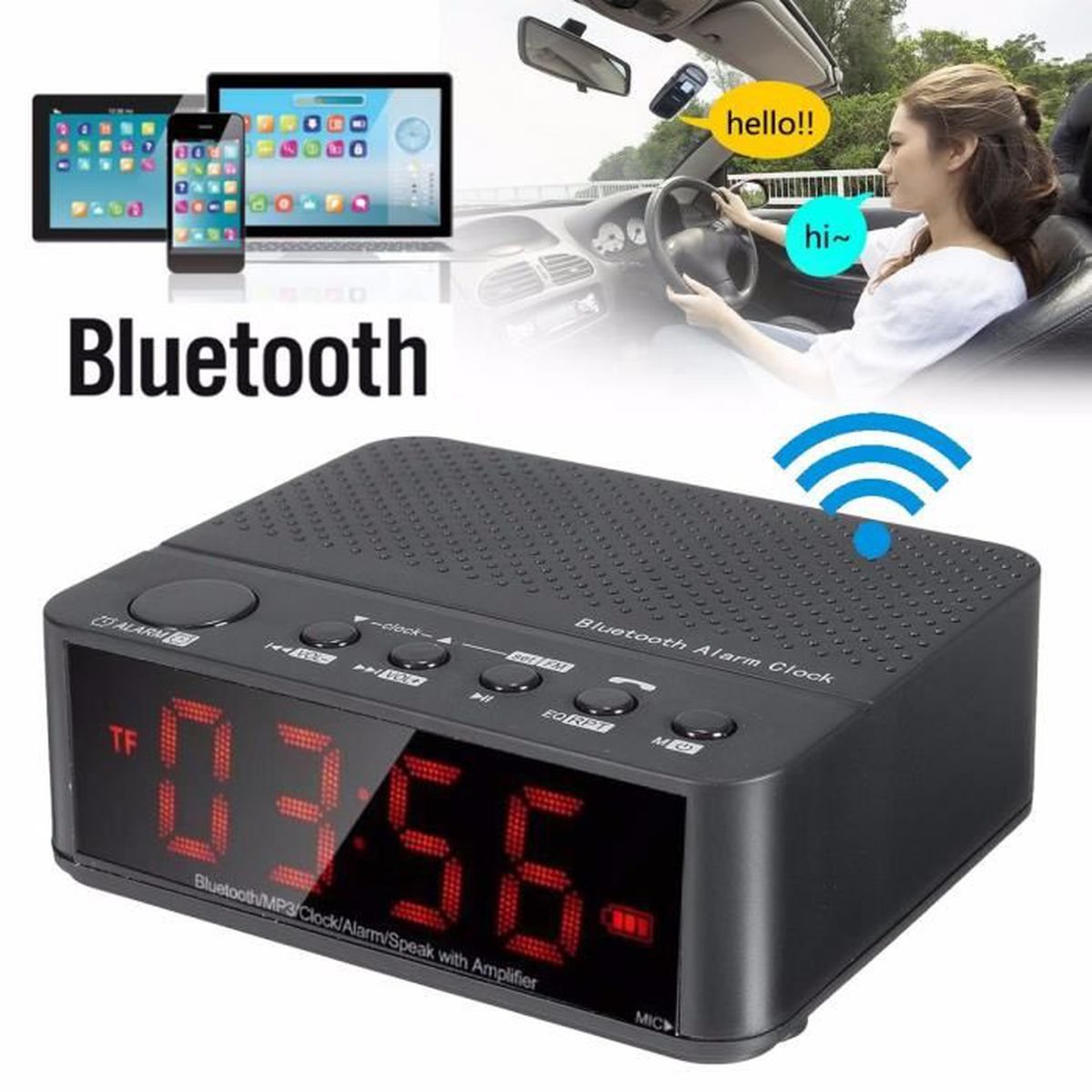 enceinte bluetooth horloge achat vente enceinte bluetooth horloge pas cher les soldes sur. Black Bedroom Furniture Sets. Home Design Ideas