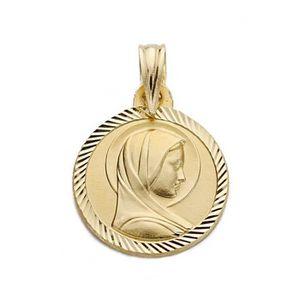 PENDENTIF VENDU SEUL Médaille pendentif Or 18 carats Vierge Marie 14mm
