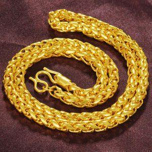 CHAINE DE COU SEULE solide Collier chaîne 18k jaune plaqué or classiqu