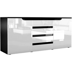 BUFFET - BAHUT  Buffet commode Sylt en Noir mat - Blanc haute - No