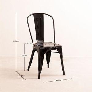 CHAISE Lot de 4 Chaises design industriel LIX Noir