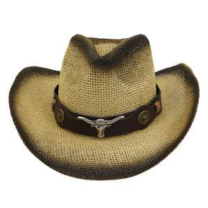 CHAPEAU - BOB Chapeau de Cow-Boy tissé en Paille pour Hommes et