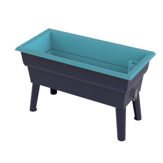 CALIPSO Jardinière Mini en plastique recyclable - 40 L - Gris et bleu  turquoise