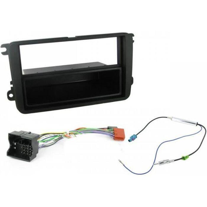 Kit Adaptateur Autoradio 1DIN avec vide-poche noir VW Golf 5/ Touran ap02/ Passat ap05 + ISO + FM