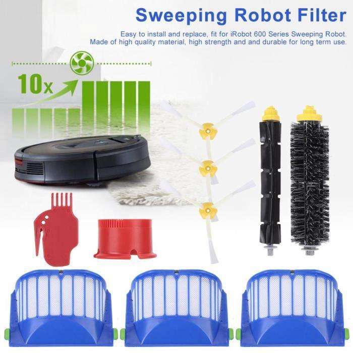 Filtre Kit de pièces de rechange de brosse latérale de peigne de brosse principale adapté au robot nettoyeur iRobot série 600