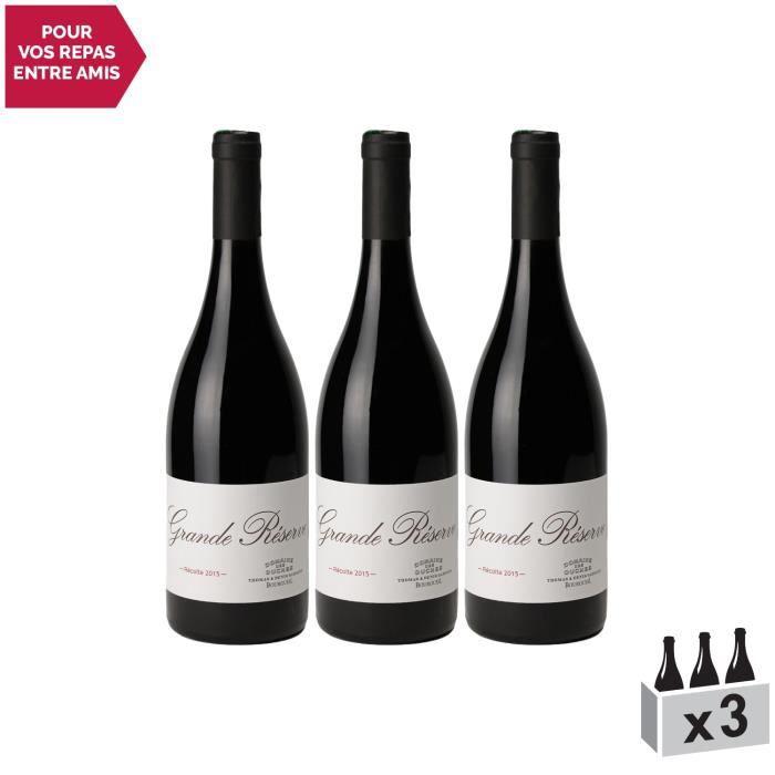 Bourgueil Grande Réserve Rouge 2015 - Lot de 3x75cl - Domaine des Ouches - Vin AOC Rouge du Val de Loire - Cépage Cabernet Franc