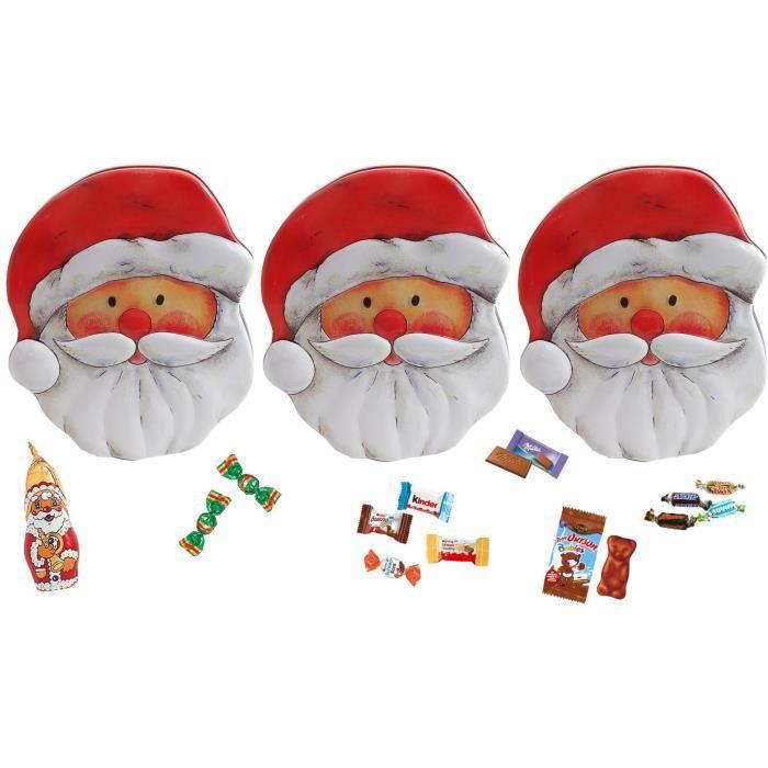 Boite Père Noël en métal 40 pièces garnie de chocolat Milka, Kinder, ourson guimauve Cémoi, Bounty, Snickers, Mars, Twix