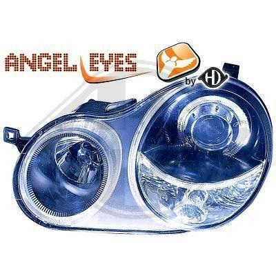 2205480 , Paire de Feux Phares Angel eyes noir pour VW Polo 9N de 2001 a 2005