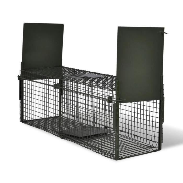 Attrape à animaux avec 2 portes - 100 x 26 x 31 cm (L x l x H) - Cage piège pour animaux chats chiens lapins