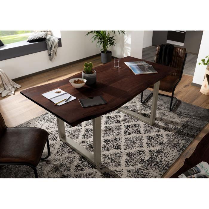 Table à manger 220x100cm - Bois massif d'acacia laqué (Gris/Marron) - Design moderne naturel - FREEFORM 3