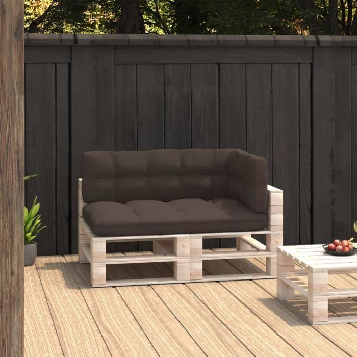 ��PARIS©Parfait-Coussins de canapé palette 3 pcs - Coussin matelassé pour palette - Coussin pour banc de jardin Banquette Taup1039