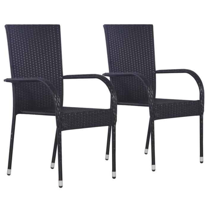 Lot de 2 Chaises de Salle à Manger Contemporain Empilable Tabouret Chaises d'extérieur 55,5 x 53,5 x 95 cm (l x P x H)- Résine ��497