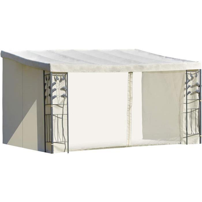 Outsunny Pergola adossable dim. 4L x 3l x 2,7H m pavillon de Jardin Toile Polyester Haute densité moustiquaires crème Structure 8