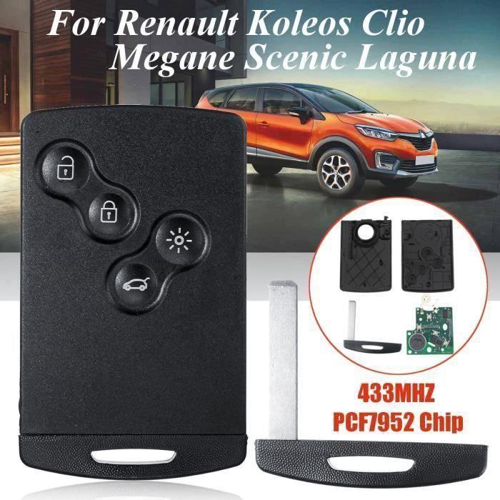 4 Bouton Clé à distance de puce 433Mhz PCF7952 w - batterie pour Renault Koleos Clio Megane Scenic Laguna Bo55558