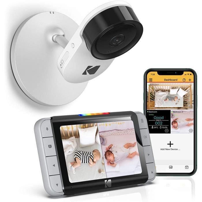 Moniteur vidéo pour bébé WiFi Kodak Cherish C520 avec vision au-dessus du lit, unité parent pour surveillance permanente et applicat