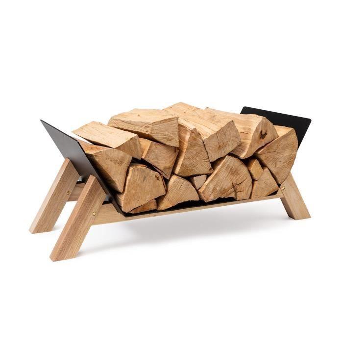 Porte-bûches - Blumfeldt Langdon Wood Black - 68 x 38 x 34 cm - Fer et bois