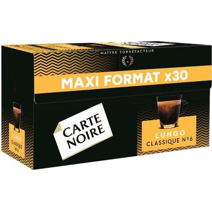 LOT DE 6 - CARTE NOIRE Café capsules Lungo Classique Intensité N°6 Compatible Nespresso - Boite de 30 capsules - 168g