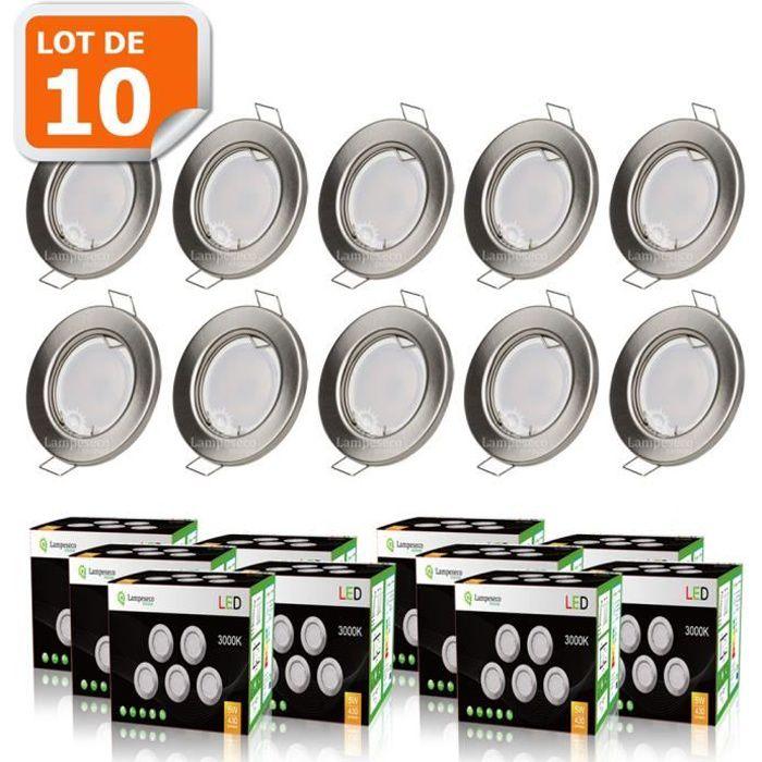 LOT DE 10 SPOT LED ENCASTRABLE COMPLETE RONDE FIXE ALU BROSSE eq. 50W BLANC CHAUD