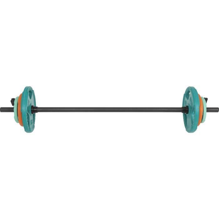 Gorilla Sports - Barre légère aerobic de 130cm + 17,5kg des poids en caoutchouc grip Multicolore