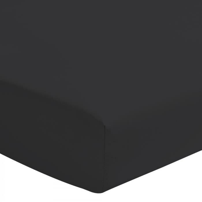 Le Drap Housse extensible - 2 Personnes 180x200 - 100% Coton 57 Fils Bonnet 25cm - Noir
