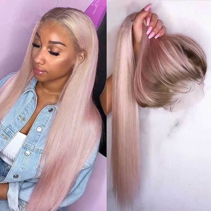 24'' Perruque Lace Front Wig Naturelle Lisse Rose Ombré 13x4 Pre-plucked Avec Baby Hair