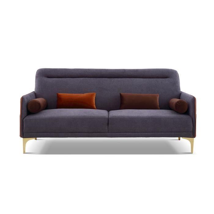Canapé 3 places en tissu INSIDE - Gris anthracite - Gris