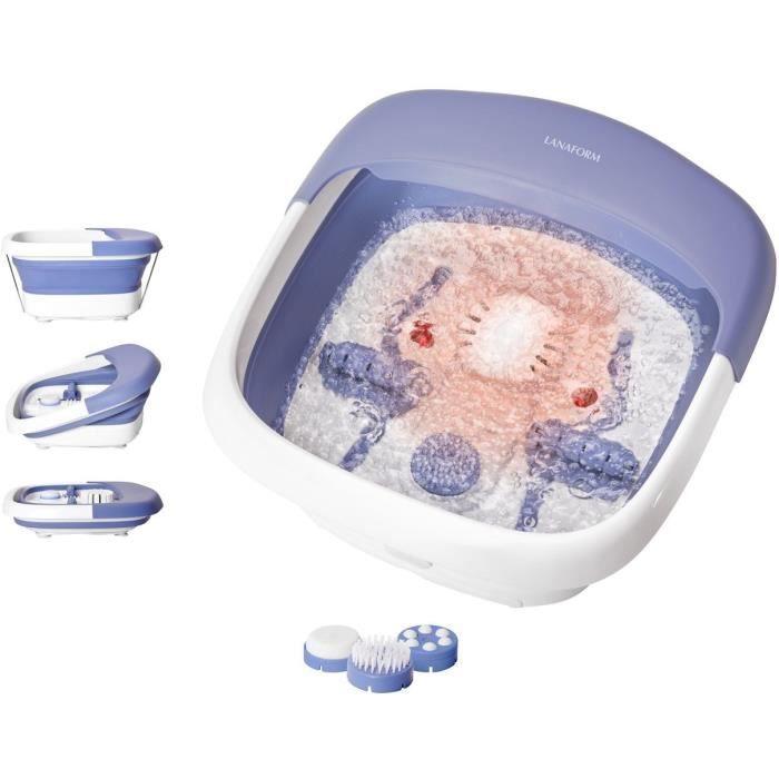 LANAFORM HEAT & FOLD SPA - Appareil de massage des pieds - Pliable et chauffant - Set de pédicure inclus