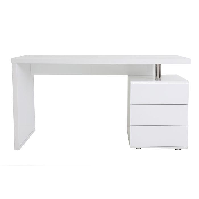 Bureau design blanc laqué 3 tiroirs CALIX