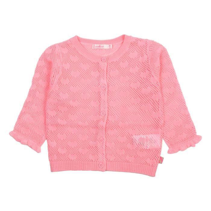 Cardigan rosa pallido Billieblush -Dettagli cardigan in maglia, maniche lunghe con polsi arricciati, scollo rotondo, completamente