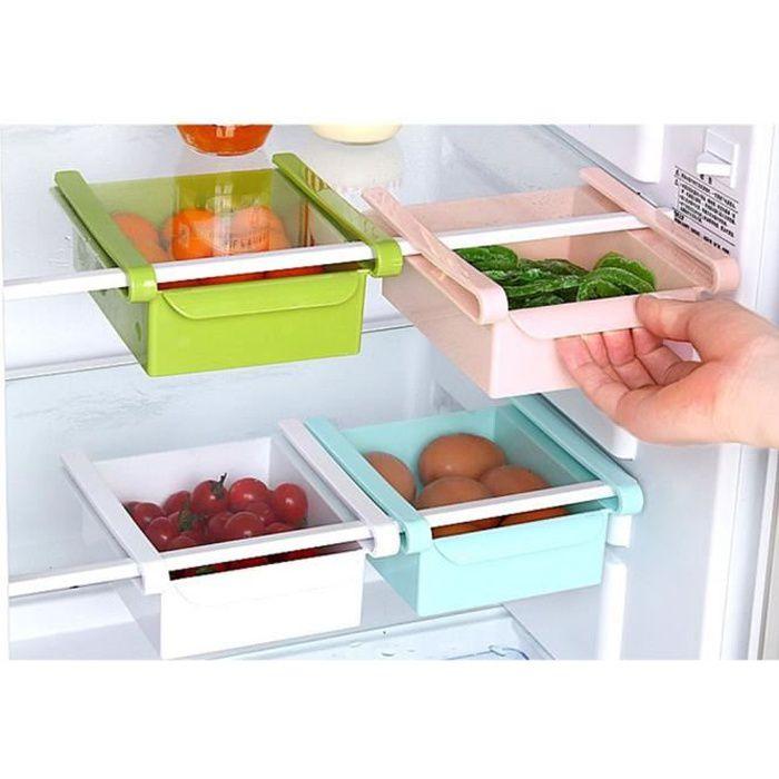 5 pcs Organisateur panier de réfrigérateur Boite de rangement dans frigo Bac de stock de frigidaire - bleu 165 * 150 * 60mm