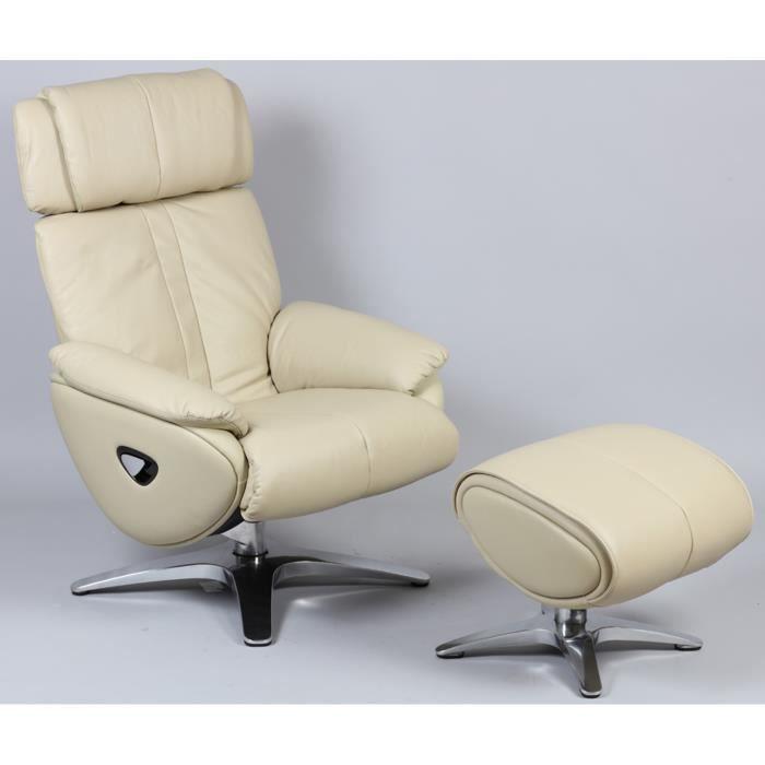 Fauteuil relax + repose-pied en cuir et PVC coloris sable