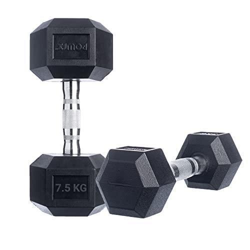 POWRX- Haltères hexagone / Revêtement en caoutchouc / Poids: 2 x 7,5 kg