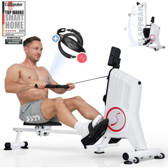 Rameur SPORTSTECH avec Ceinture Cardiofréquencemètre - Rameur Pliable avec résistance magnétique silencieuse à 8 Niveaux - RSX300